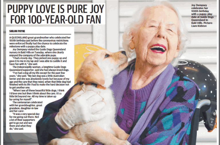 Guide Dogs supporter Joy's secret to longevity: chocolate, bubbles and puppy cuddles